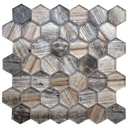 "EXOCTICA GLASS HEX 2"" BEIGE"